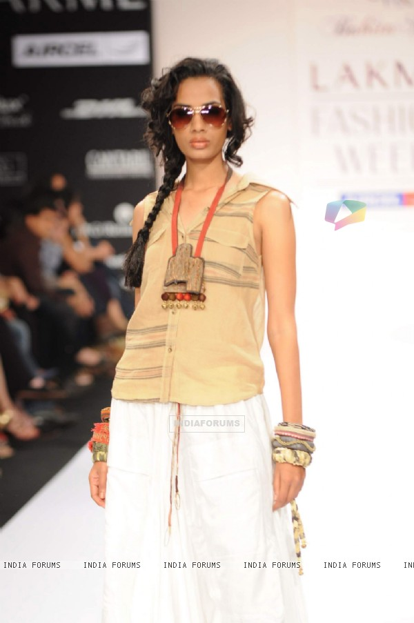 Model on day 3 Lakme Fashion Week for designer Babita Malkani. .