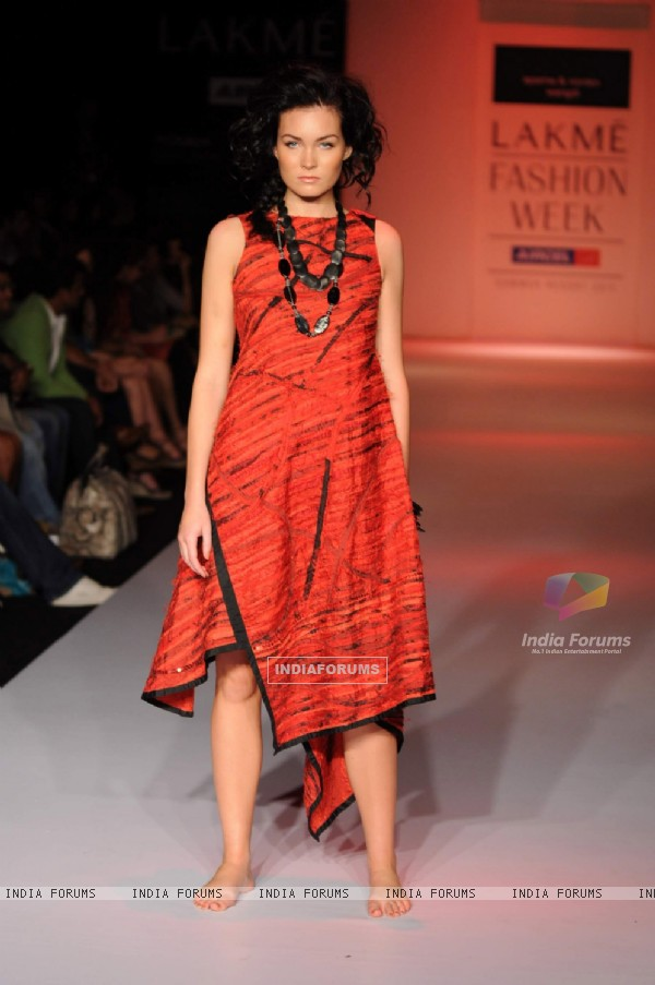 Model on day 3 Lakme Fashion Week for designer Aparna and Nordan Wangdi. .