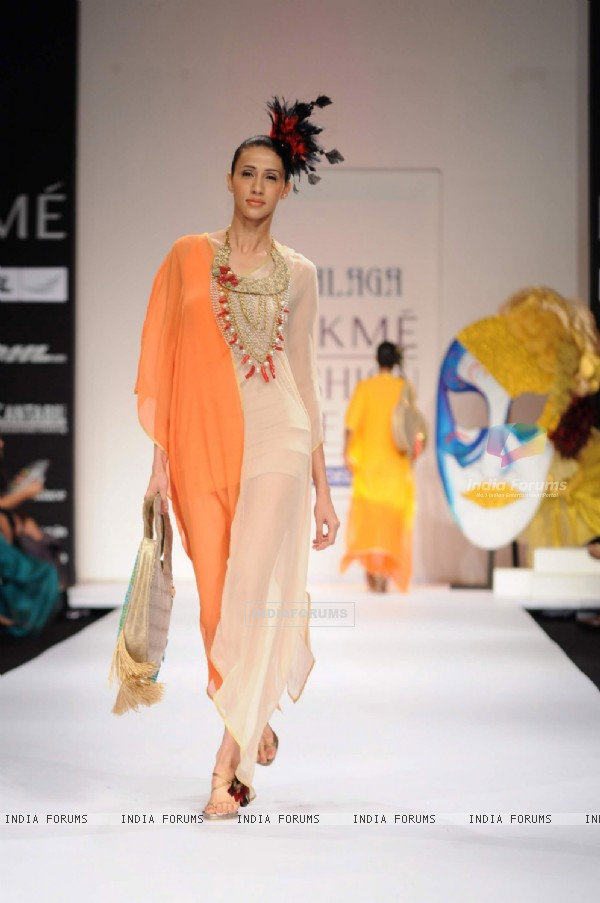 Model on day 3 Lakme Fashion Week for designer Malaga and Malini Agarwalla. .