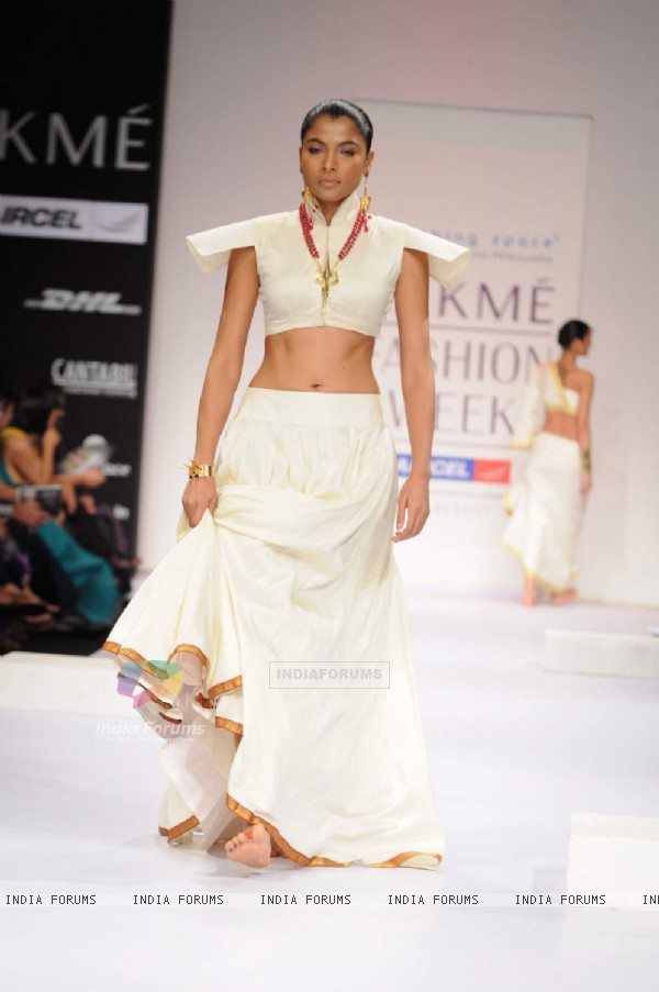 Model on day 3 Lakme Fashion Week for designer Eina Ahluwalia. .