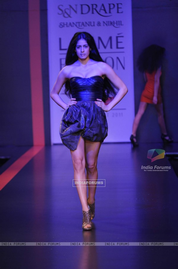 Model on day 3 Lakme Fashion Week for designer Nikhil Shantanu. .