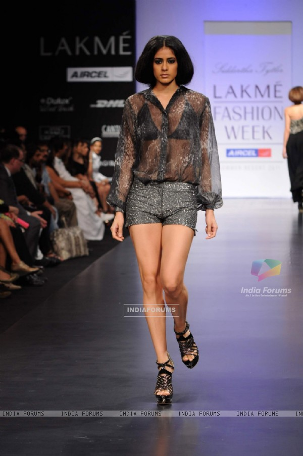 Model on day 3 Lakme Fashion Week for designer Siddartha Tytler. .