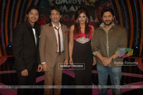 Shreyas Talpade, Raveena Tandon, Arshad Warsi and Shekhar Suman on the sets of Comedy Ka Maha Muqabla. .