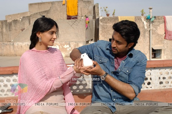 Abhishek and Sonam with a pigeon (12580)