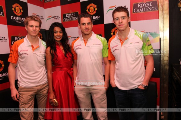 Nico Hulkenberg, Actress Sarah Jane Dias, Adrian Sutil & Paul di Resta at Force India Press Conference. .