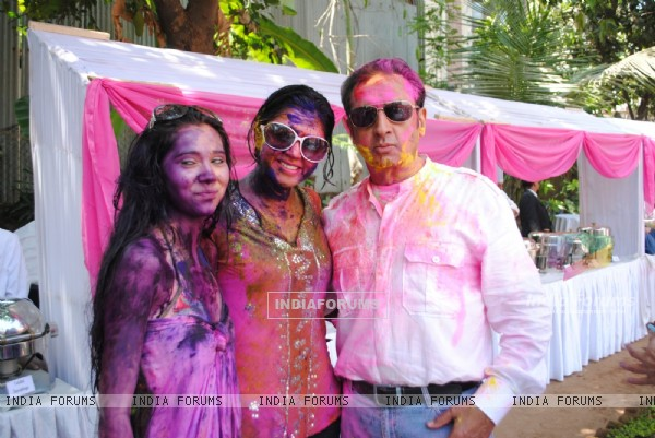 Gulshan Grover and Kavita Kaushik at Ekta, Sanjay and Kiran Holi Party at Versova