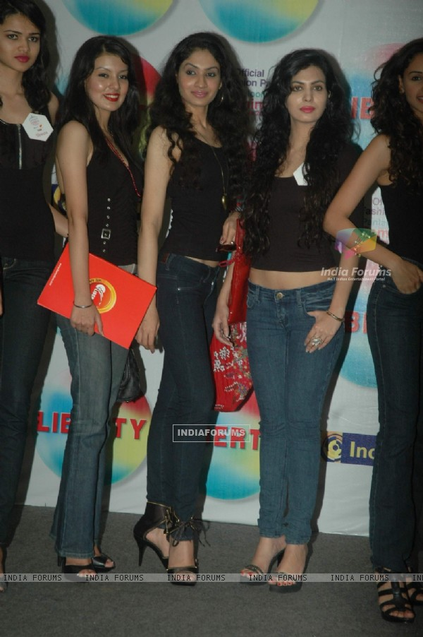 Models at Femina Miss India 2011 contestants visit Liberty store at Oberoi Mall. .