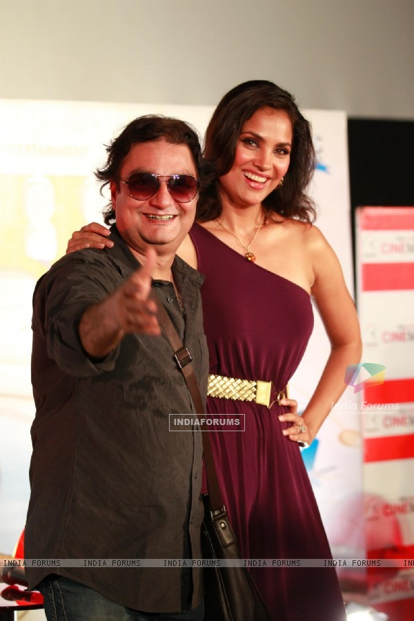 Vinay Pathak and Lara Dutta during the first look of film 'Chalo Dilli' in Mumbai