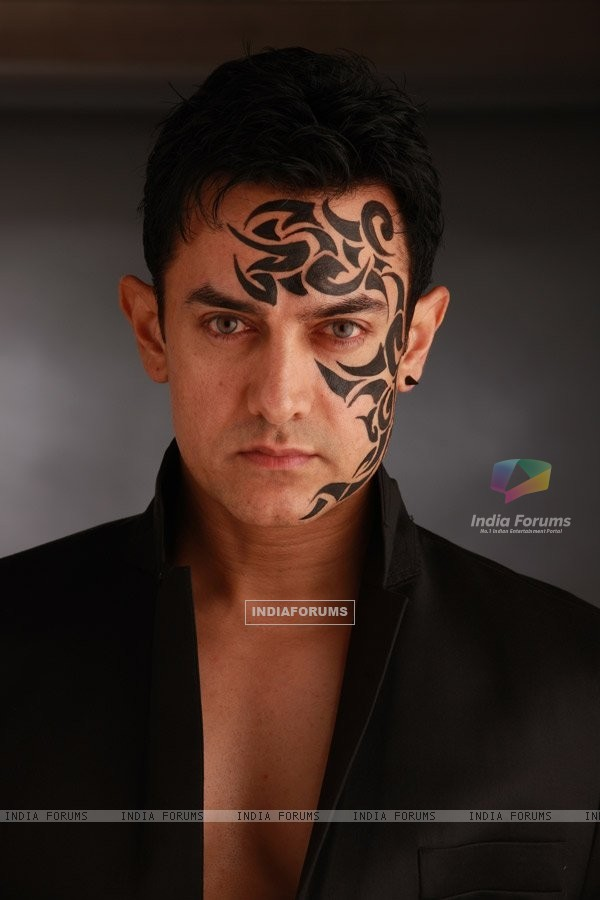Aamir Khan with tattoo on the face