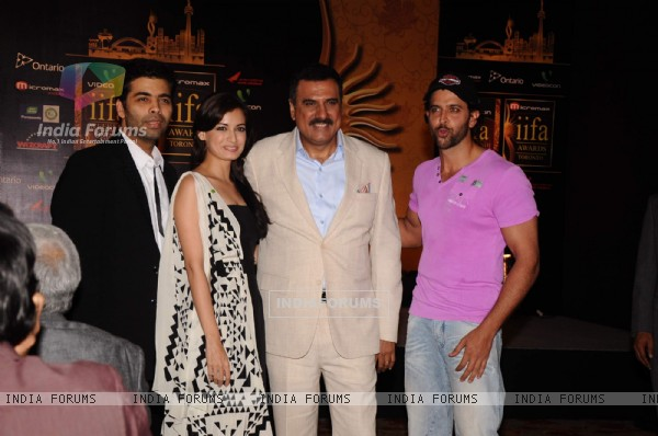 Karan Johar, Dia Mirza, Boman Irani and Hrithik Roshan at IIFA nominee announcement. .