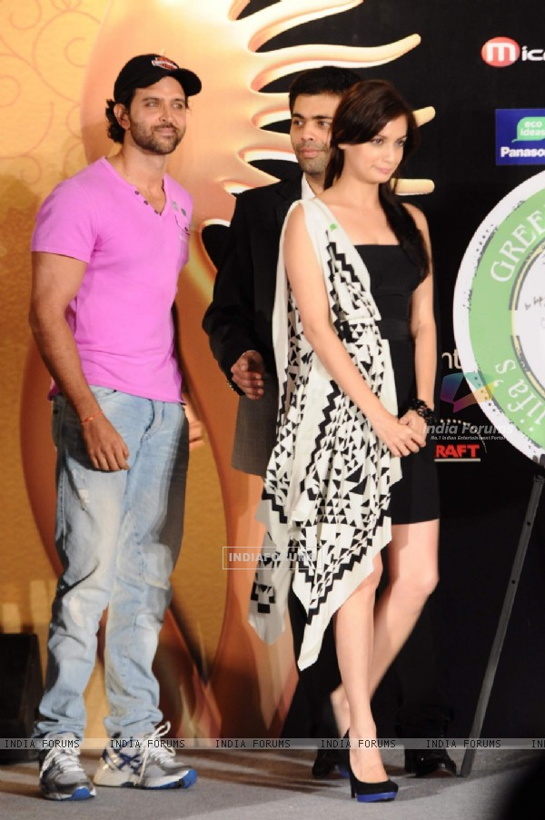 Hrithik Roshan, Dia Mirza and Karan Johar at IIFA nominee announcement. .