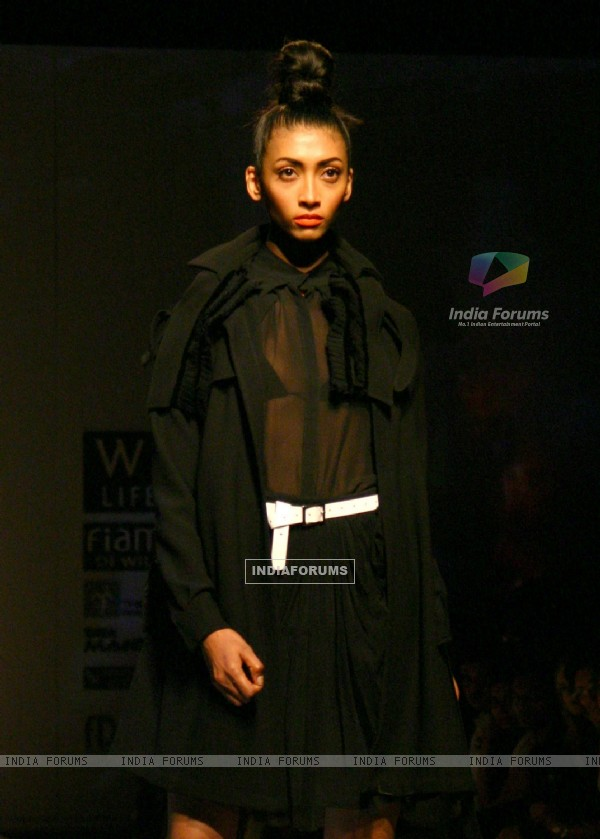 A model showcasing designer Varun Bhal's creation at the Wills Lifestyle India Fashion Week autumn winter 2011,in New Delhi on Wednesday. .