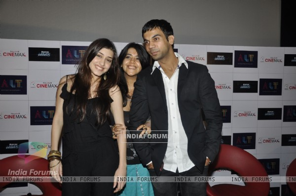 Ekta Kapoor with Raj and Kainaz at first look launch of Ragini MMS at Cinemax, Mumbai