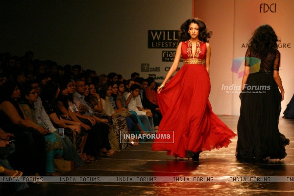 A model showcasing designer Anita Dongre's creation at the Wills Lifestyle India Fashion Week autumn winter 2011,in New Delhi on Sunday. .