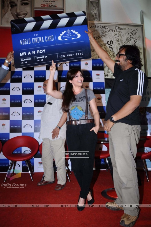 Soha Ali Khan, Anurag & Shyam Benegal unveil Taj Enlighten World Cinema Card  at Cinemax, Mumbai. .