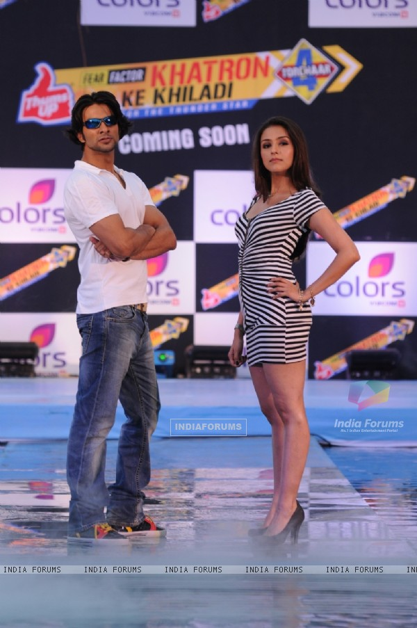 Aarti Chhabria and Dhaval Thakur at Press Conference of Fear Factor Khatron Ke Khiladi Season 4