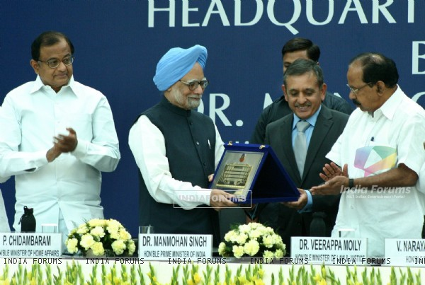Prime Minister  Manmohan Singh, Home Minister P Chidambaram, Law Minister Veerappa Molly and CBI Director A P Singh at the inauguration of new CBI Headquarter Building in New Delhi on Saturday. .