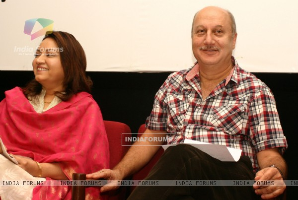 "Writer Gajra Kottary with Anupam Kher at the release of her book ""Broken Melodies "" in New Delhi"