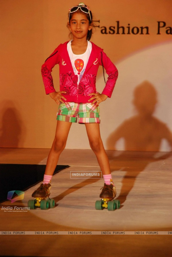 Kids walk the ramp at Garodia institute fashion show at Ghatkopar with the theme 'Melange'