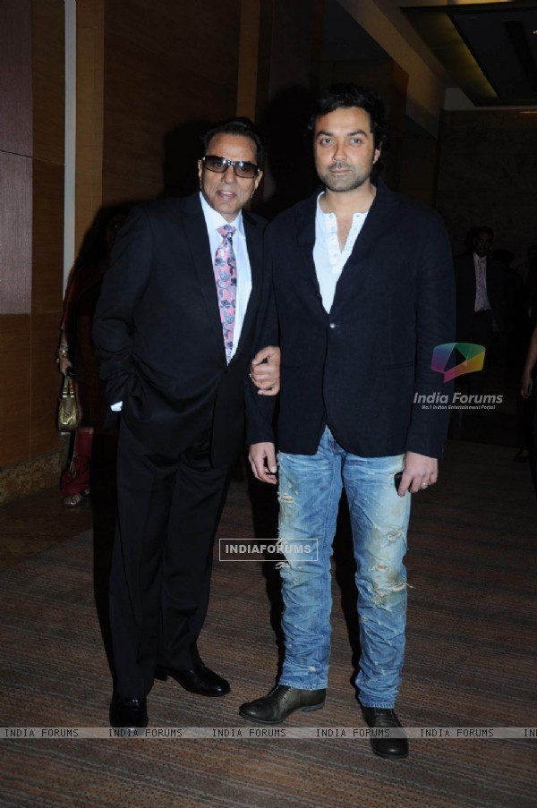 Dharmendra and Bobby Deol at IIFA press meet at Grand Hyatt