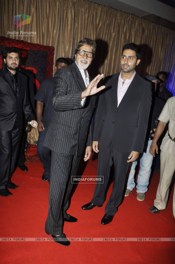 Amitabh Bachchan and Abhishek Bachchan at Ganesh Hegde's wedding reception, Grad Hyatt