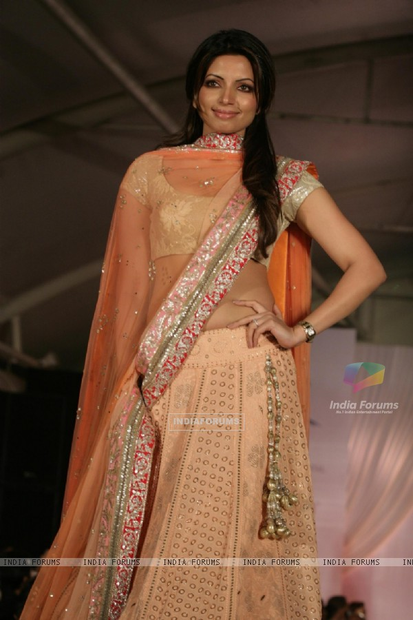 Shama Sikander walk the ramp for Shaina NC and Manish Malhotra at the Pidilite-CPAA charity fashion