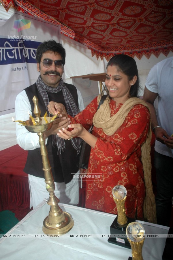 Renuka and Ashutosh Rana at Dimple Ghosh  calls centre for handicapped children at Versova