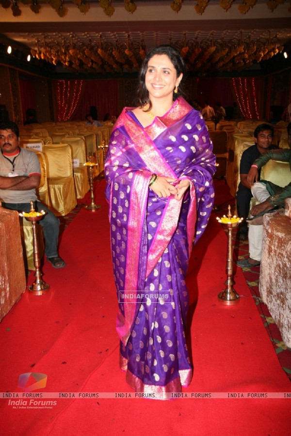 Supriya Pilgaonkar at Ratan Rajput and Abhinav Sharma engagement on Imagine TV Ratan Ka Rishta