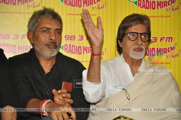 Big B with Prakash Jha to promote film Aarakshan at Radio Mirchi at Lower Parel