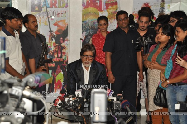 Amitabh visits the sets of reality show X Factor India to promote his film Aarakshan at Filmcity, Mumbai