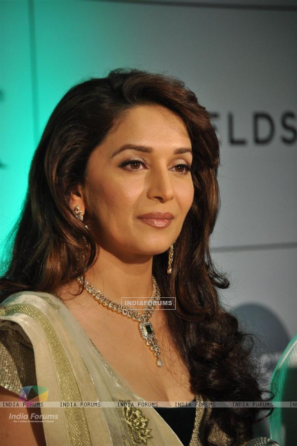 Madhuri during the launch of Gemfields 'Emeralds for Elephants' Jewellery