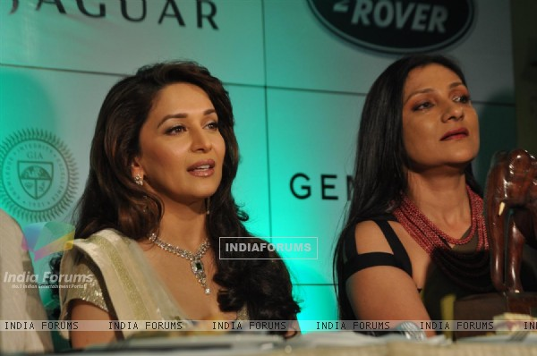 Madhuri Dixit during the launch of Gemfields 'Emeralds for Elephants' Jewellery