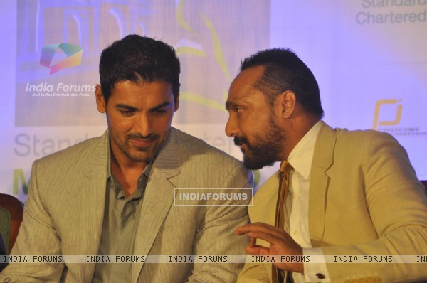 John Abraham and Rahul Bose at Mumbai marathon press meet, Trident