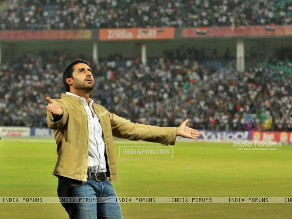 Abhishek Bachchan during IPL 2011