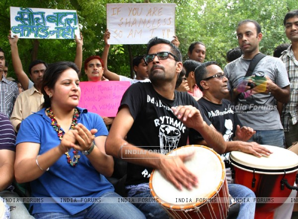 The Slutwalk Delhi 2011, at Janter Manter in New Delhi on Sunday. .