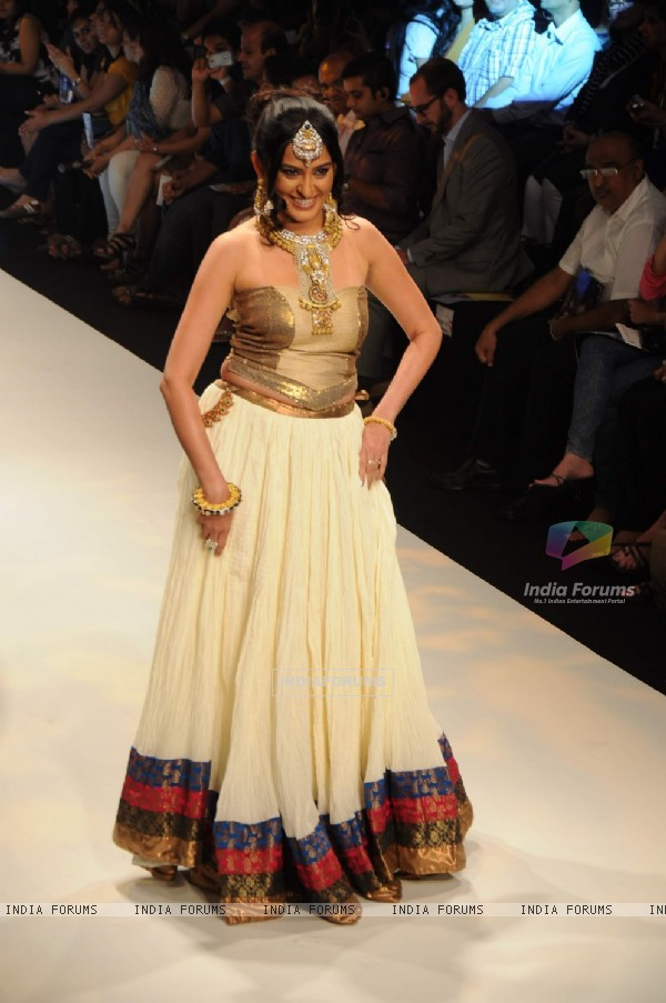 Models walk on the ramp for Dipti Amisha at IIJW 2011 show day 3. .