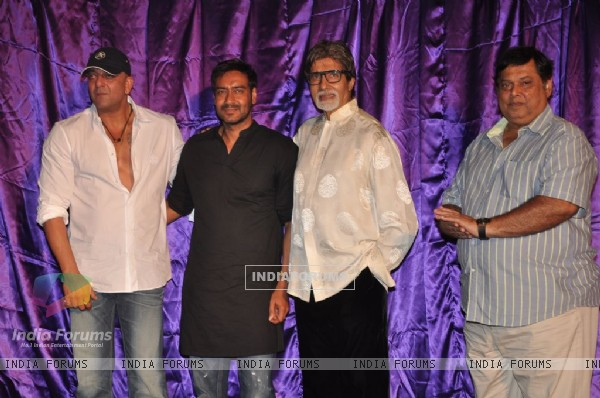Ajay Devgan, Sanjay Dutt and Amitabh Bachchan unveiled Rascals first look at PVR, Juhu.  .