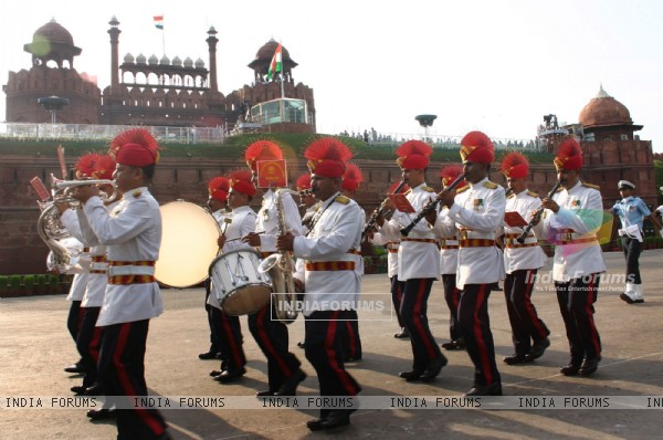 The Independence Day rehearsal at Red Fort in Delhi on Saturday, 13 August 2011. .
