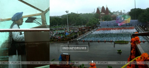 Prime Minister Manmohan Singh addressing to the nation during heavy ...