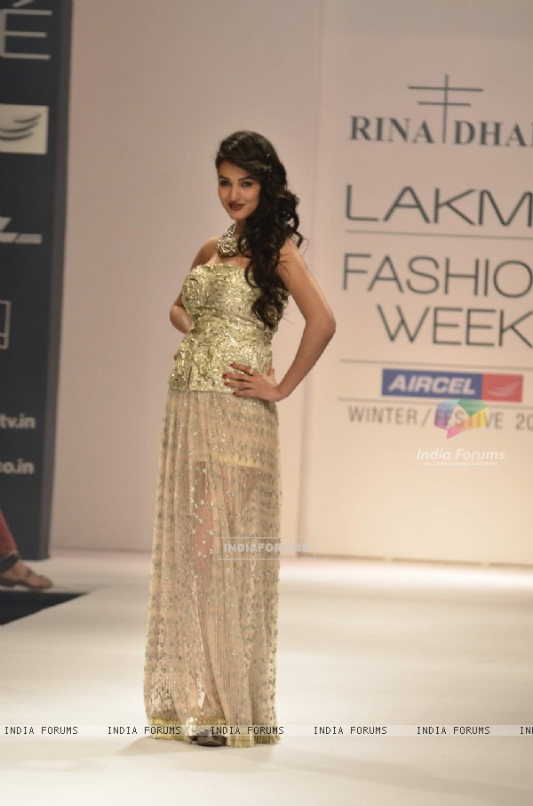 Model display the designer Rina Dhaka's collection during the first day of Lakme fashion week winter/festive 2011, in Mumbai. .