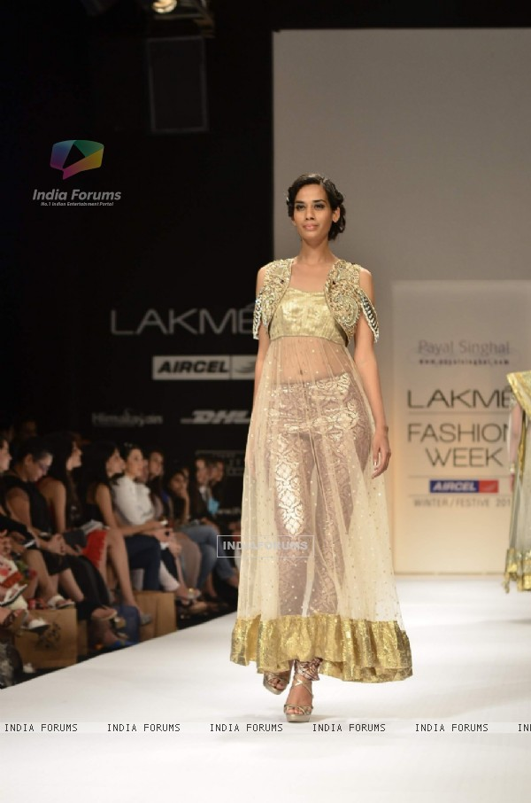 Model display the designer Payal Singhal's collection during the first day of Lakme fashion week winter/festive 2011, in Mumbai. .