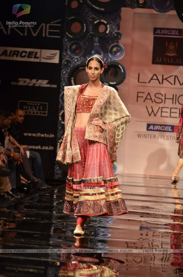 Model display the designer JJ Valaya's collection during the first day of Lakme fashion week winter/festive 2011, in Mumbai. .