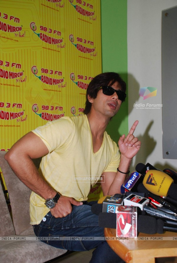 Shahid Kapoor at Radio Mirchi, Lower Parel. .