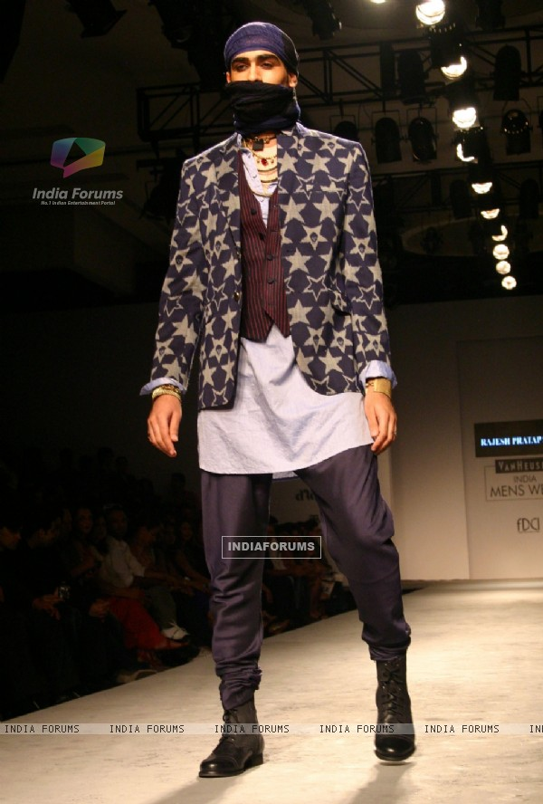 A model showcasing designer Rajesh Pratap Singh's creation at the Van Heusen India Mens Week 2011, in New Delhi on Saturday. .