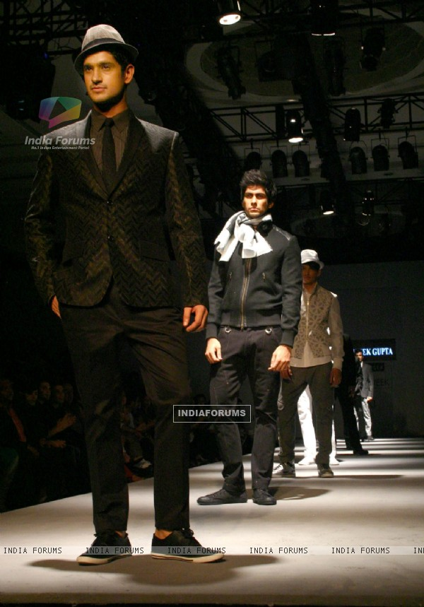 Models showcasing designer Abhishek Gupta's creations at the Van Heusen India Mens Week 2011, in New Delhi on Saturday. .
