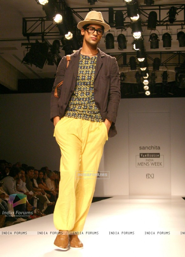 A model showcasing designer Sanchita's creation at the Van Heusen India Mens Week 2011, in New Delhi on Saturday. .