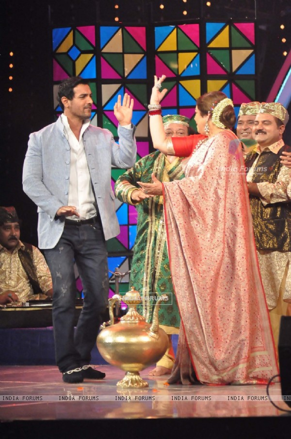 John Abraham and Kirron Kher on the sets of India's Got Talent at Film City