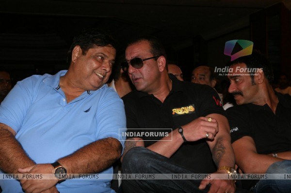 Sanjay Dutt, Ajay Devgn and David Dhawan at Film 'Rascals' music launch at Hotel Leela in Mumbai