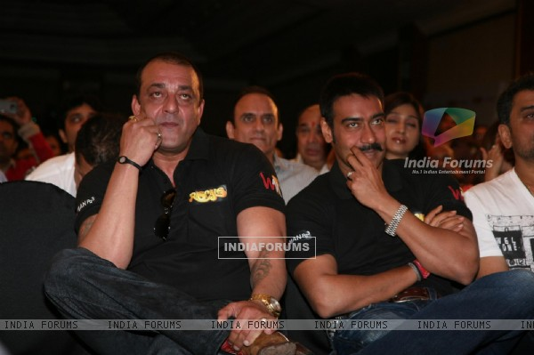Sanjay Dutt and Ajay Devgn at Film 'Rascals' music launch at Hotel Leela in Mumbai