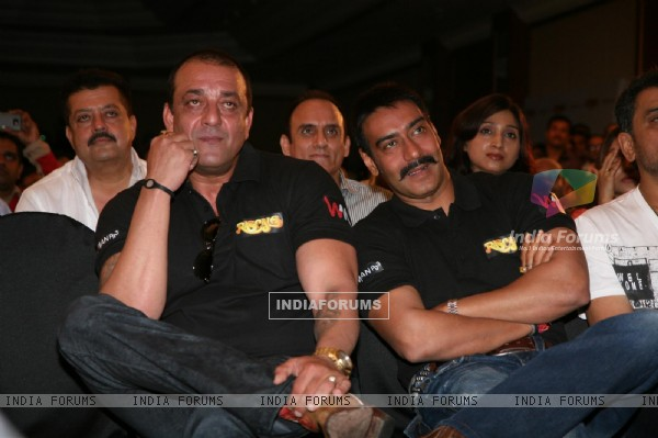 Ajay Devgn and Sanjay Dutt at Film 'Rascals' music launch at Hotel Leela in Mumbai